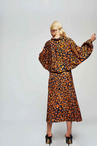 Falda midi estampado leopardo Dolores Promesas - Basileia
