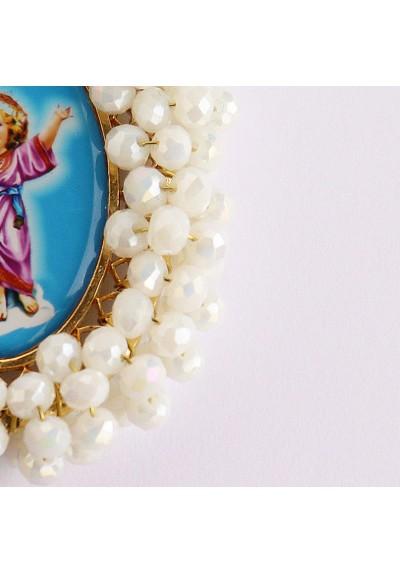 Medalla religiosa bordada doble cara Niño Jesús y Ángel de la Guarda Basileia