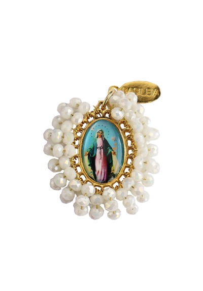 Medalla religiosa mediana bordada Virgen Milagrosa Basileia