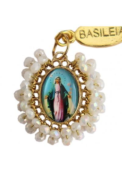 Medalla religiosa pequeña bordada Virgen Milagrosa Basileia
