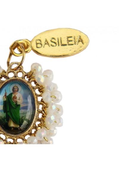 Medalla religiosa pequeña bordada San Judas Tadeo Basileia