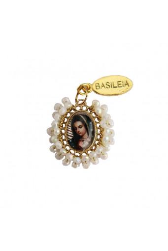 Medalla religiosa pequeña bordada Virgen de Guadalupe Basileia