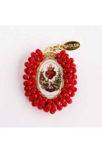 Medalla religiosa bordada doble cara Sagrado Corazón Basileia