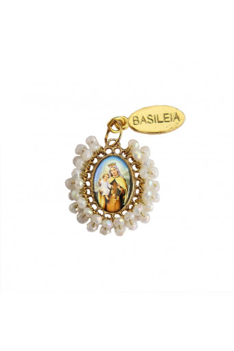 Medalla religiosa pequeña bordada Virgen del Carmen perla Basileia