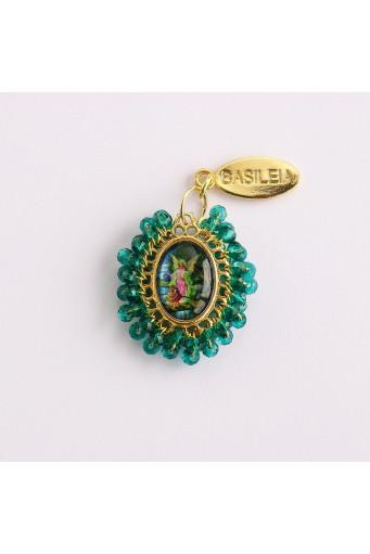 Medalla religiosa pequeña bordada Ángel de la Guarda Basileia