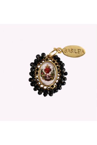 Medalla religiosa pequeña bordada Sagrado Corazón Basileia