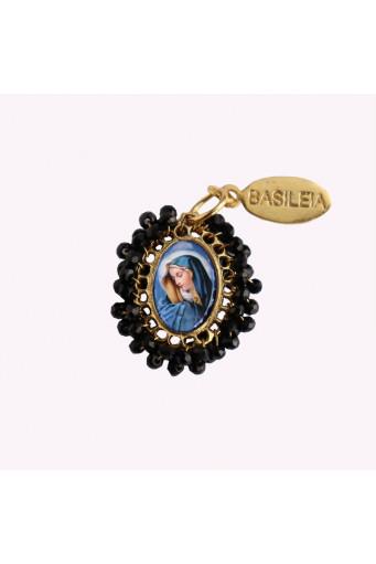 Medalla religiosa pequeña bordada Virgen Dolorosa Basileia