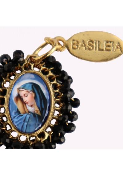 Medalla religiosa pequeña bordada Virgen de los Dolores Basileia