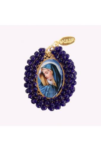 Medalla religiosa bordada doble cara Virgen de Dolores - Virgen de Guadalupe