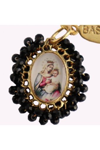 Medalla religiosa pequeña Virgen del Rosario con Niño Basileia