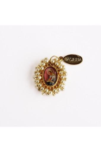 Medalla religiosa pequeña bordada Virgen Rosa Mística perla nude Basileia