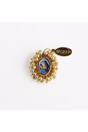 Medalla religiosa pequeña bordada Virgen de Dolores nude Basileia