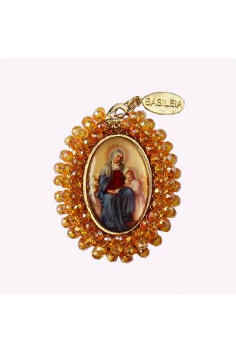 Medalla religiosa bordada doble cara Santa Ana con la Virgen Niña - Cristo Rey Basileia