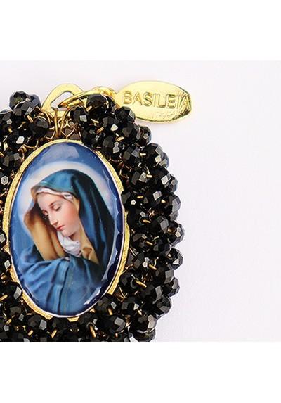 Medalla religiosa bordada doble cara Virgen de Dolores - Cristo con Corona de Espinas - Basileia