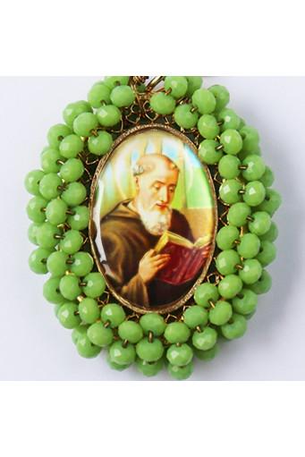 Medalla religiosa bordada doble cara Virgen Rosa Mística - San Benito Abad - Basileia