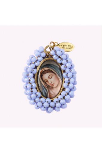 Medalla religiosa bordada doble cara Virgen María - Santísima Trinidad - Basileia
