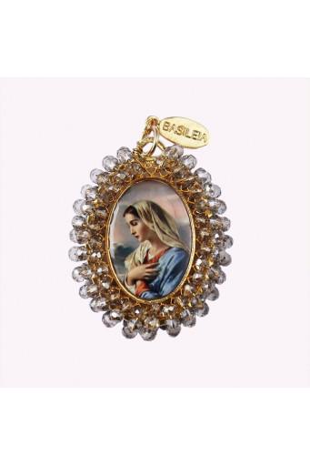 Medalla religiosa bordada Virgen de con Niño - Basileia