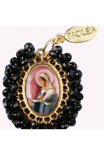 Medalla religiosa mediana Virgen Rosa Mística 1 rosa - Basileia