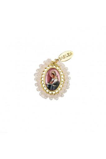 Medalla religiosa pequeña bordada Virgen Rosa Mística rosa claro - Basileia