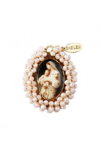 Medalla religiosa bordada Virgen con Niño Divino Cordero - Basileia