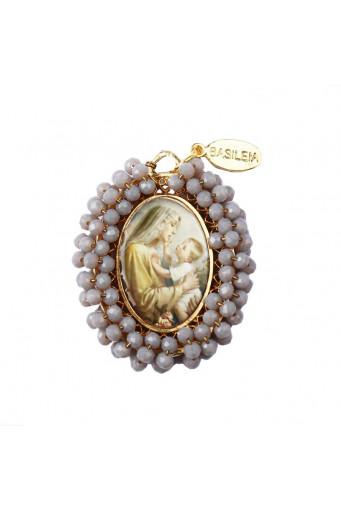 Medalla religiosa grande Virgen con Niño gris opaco - Basileia