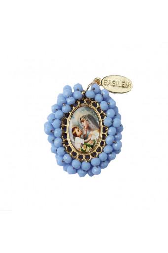 Medalla religiosa pequeña bordada Virgen María con Niño Velo azul - Basileia