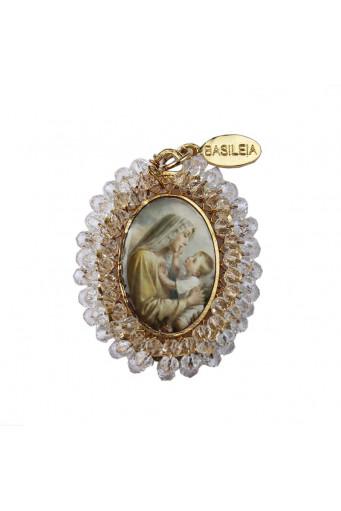 Medalla religiosa grande Virgen con Niño cristal transparente - Basileia