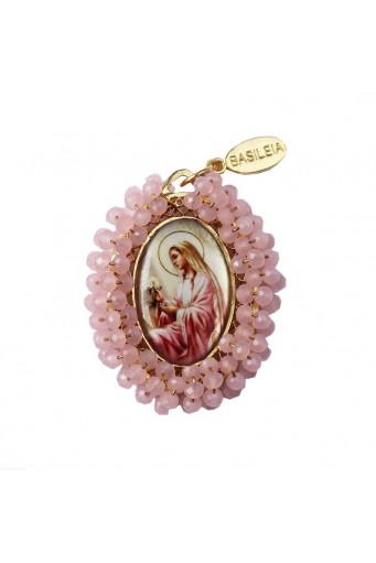 Medalla religiosa bordada doble cara Virgen Milagrosa - Virgen Rosa Mística - Basileia