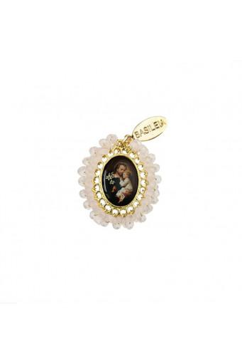Medalla religiosa pequeña bordada San Antonio rosa claro - Basileia