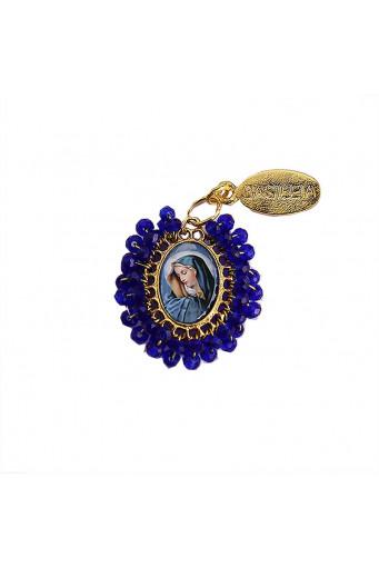 Medalla religiosa pequeña bordada Virgen Dolorosa - Basileia