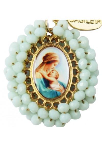 Medalla religiosa pequeña bordada Virgen María con Niño - Basileia