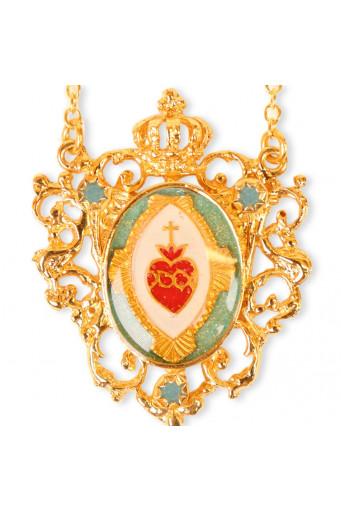 Collar Sagrado Corazón corona turquesa Basileia