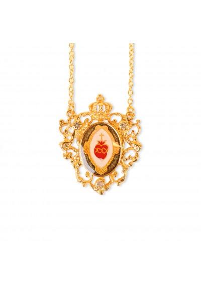 Collar Sagrado Corazón corona verde Basileia