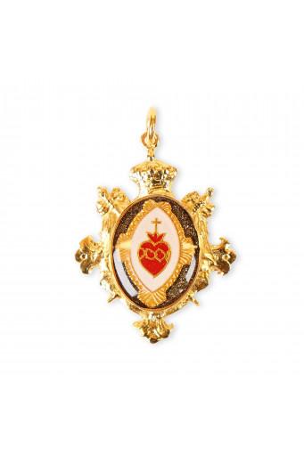 Medalla Sagrado Corazón corona verde Basileia
