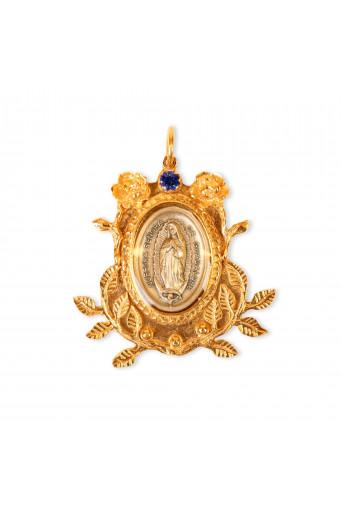 Medalla Virgen de Guadalupe hojas Basileia