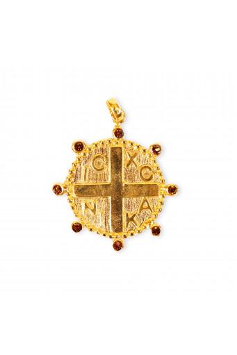 Medalla redonda con cruz y circonitas Basileia
