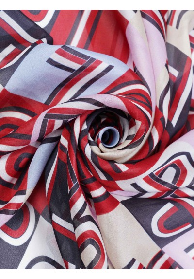 Pañuelo de seda rosa rojo Lion of Porches - Basileia
