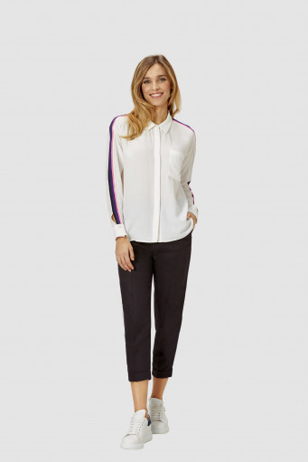 Blusa blanca Blouse with corded bands in contrasting colours Rich & Royal - Basileia